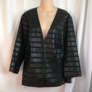 Lafayette 148 black leather Moto jacket 18